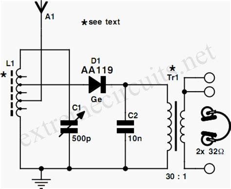 diode circuits explanation diode radio for low impedance headphones circuit and explanation electronic circuit collection