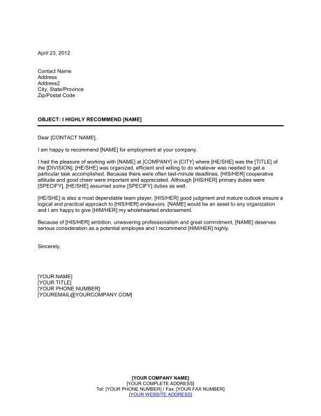 Employment Reference Letter Template Business Letter Of Recommendation Template For Employee