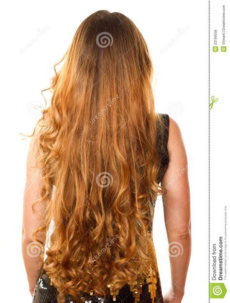hairstyles that have long whisps in back and short in the front kapsel van lang krullend haar van de rug stock foto