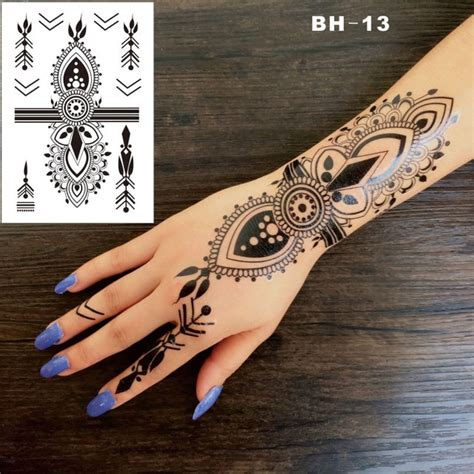 henna tattoo hand sticker aliexpress buy bh 13 funky black boho style henna