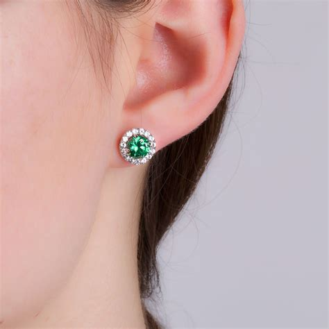 Ruby 29 3ct eternity 2ct emerald and white sapphire halo silver stud