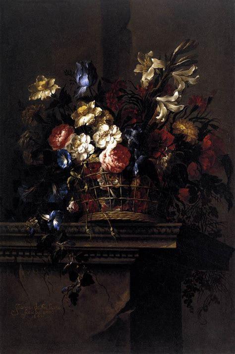 Flowers On A Vase Painting Basket Of Flowers On A Plinth Juan De Arellano
