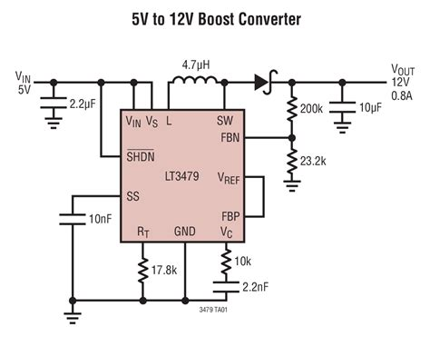 12v to 5v using resistor solutions lt3479 5v to 12v boost converter