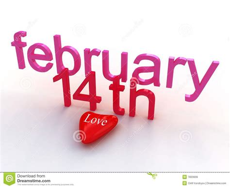 day 1 feb to 14 feb s day february 14 th stock illustration