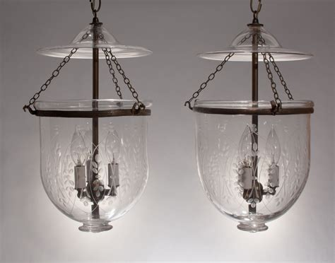 Bell Jar Lighting Fixtures Pair Antique Bell Jar Lanterns With Wheat Etching Fair Trade Antiques