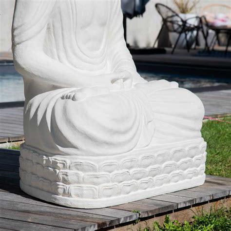 statue jardin bouddha assis en fibre de verre position chakra  cm blanc