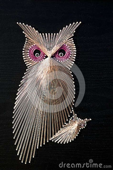 string art pattern owl map pins string owl string art royalty free stock image