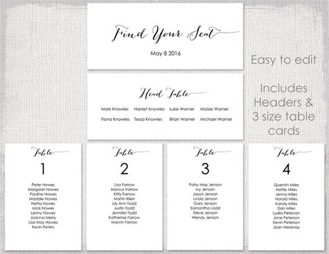 wedding seating chart template black by diyweddingsprintable