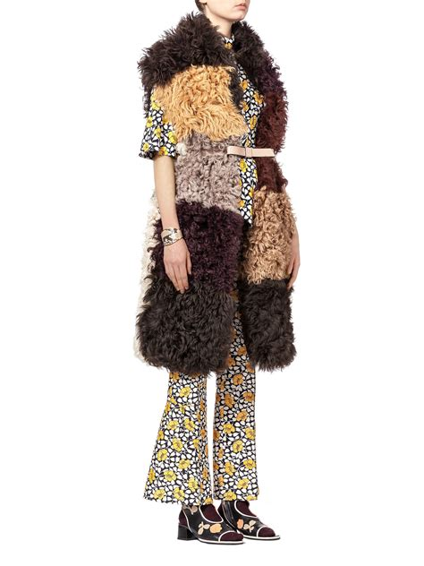 Patchwork Vest - marni haired patchwork vest in shearling in purple lyst