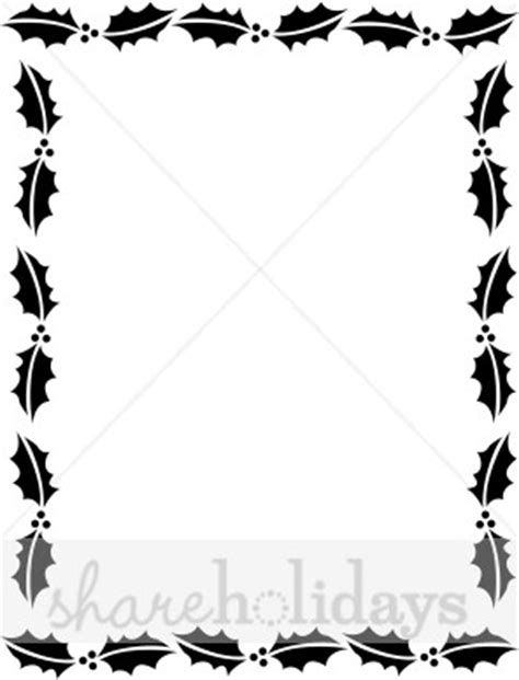 holly christmas letter frame in black and white