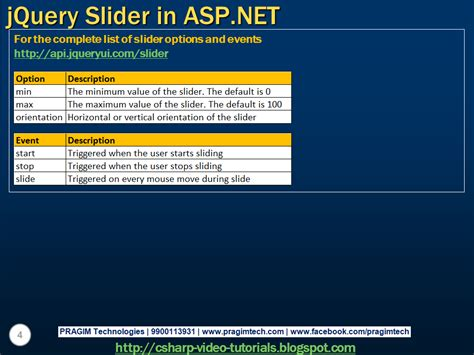 tutorial asp net using c sql server net and c video tutorial jquery slider in
