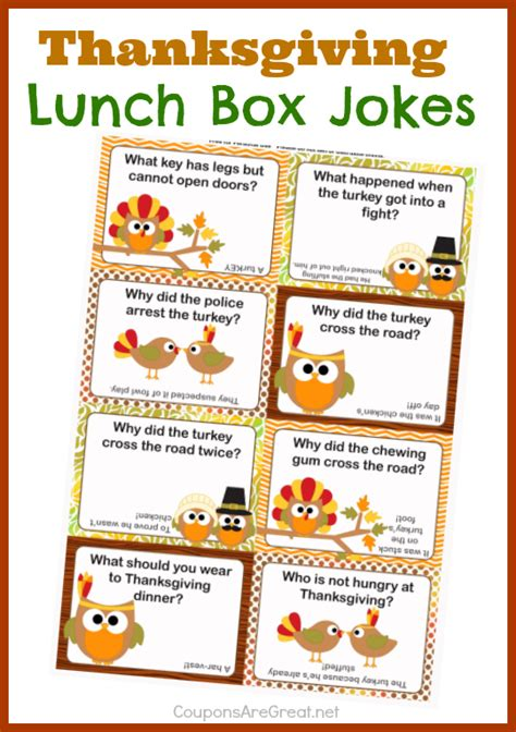 printable turkey jokes 8 best images of printable thanksgiving lunch box notes