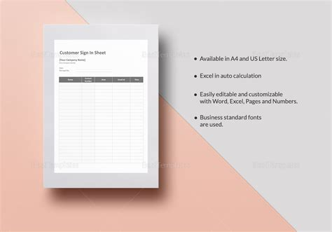 customer sign in sheet template customer sign in sheet template in word excel apple
