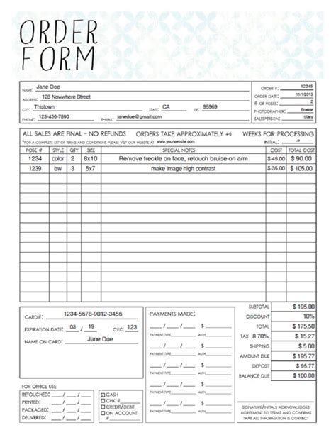 sales order form template pdf general photography sales order form template