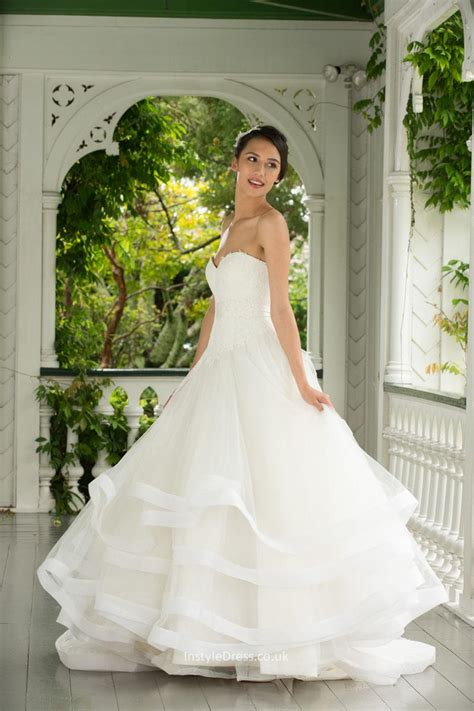 Brautkleider Organza by A Line Strapless Sweetheart Lace Organza Wedding