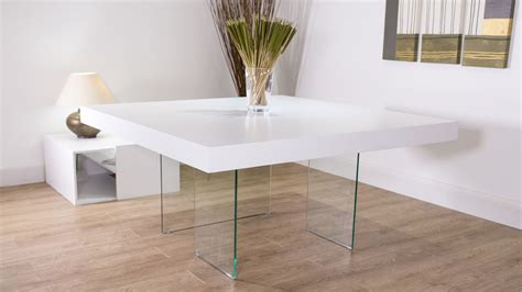 large funky white oak square dining table and real leather