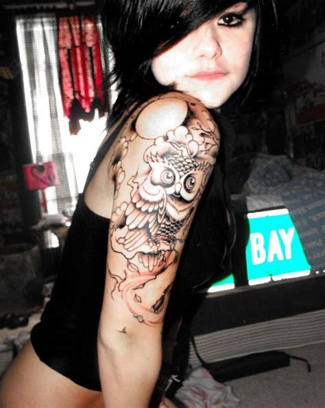 quarter sleeve owl tattoo 50 stunning sleeve tattoo inspirations for women