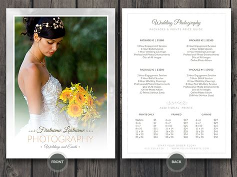 wedding photography template wedding photographer price guide card template wedding