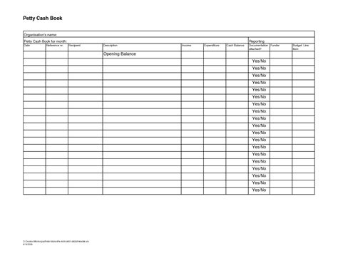 petty cash book excel format