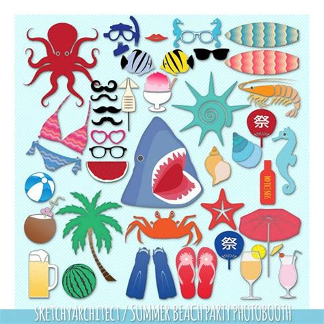 summer beach party 16 piece photo booth props printable summer beach party photo booth props digital by