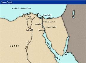 Suez Canal In World Map by World Cultures Maps