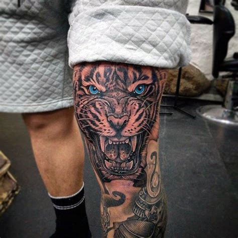 tiger tattoo for men 90 knee tattoos for cool masculine ink design ideas