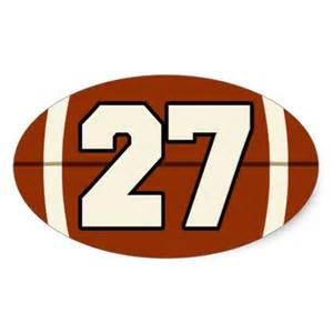 Number 27 football sticker zazzle