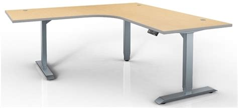 Adjustable Table L Hat Electric Height Adjustable Table 120 Degree Corner Sit To Stand Workstation