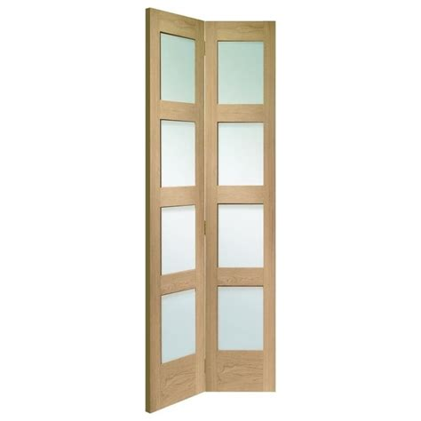 Bi Fold Doors Glass Panels Shaker Un Finished Oak Clear Glass Bi Fold Door At Leader Stores