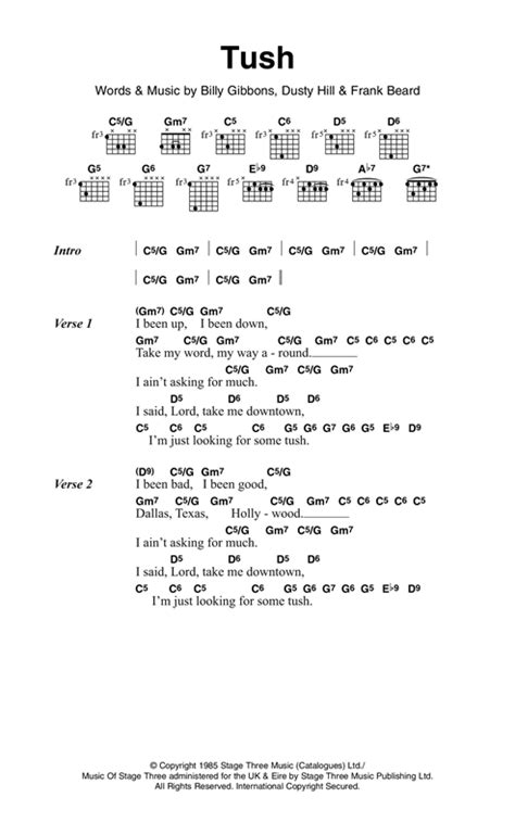 The Grange Zz Top Lyrics by Tush Sheet By Zz Top Lyrics Chords 120877
