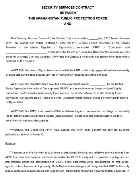 company contract template 11 security contract templates free word pdf format