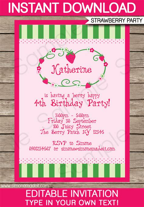 Strawberry Shortcake Invitation Template by Strawberry Shortcake Invitations Template Birthday