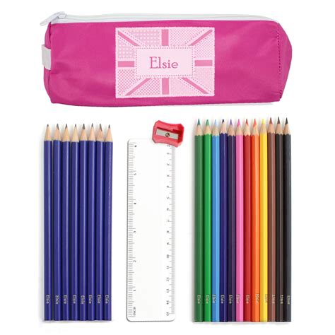 Patchwork Pencil - pink patchwork union pencil with personalised
