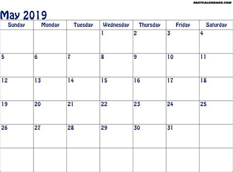 Calendar 2019 May Blank Printable May 2019 Calendar