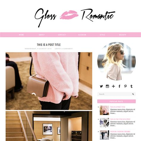 romantic templates for blogger pink responsive blogger template gloss romantic