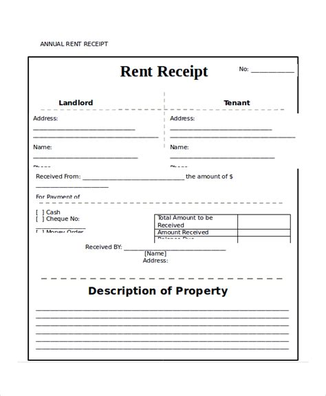 Annual Rent Receipt Template by Rent Receipt Template 9 Free Word Pdf Documents