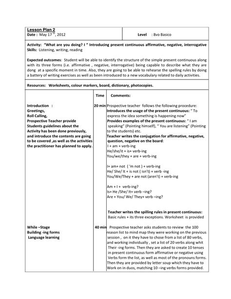 lesson plan 10 octavo past simple tense lesson plan 2 octavo basico present continuos