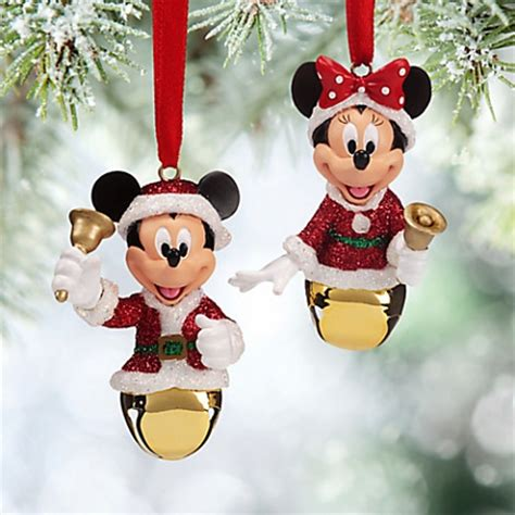 disney christmas ornament set mickey and minnie mouse bells