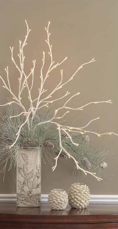 creating centerpieces with lighted branches
