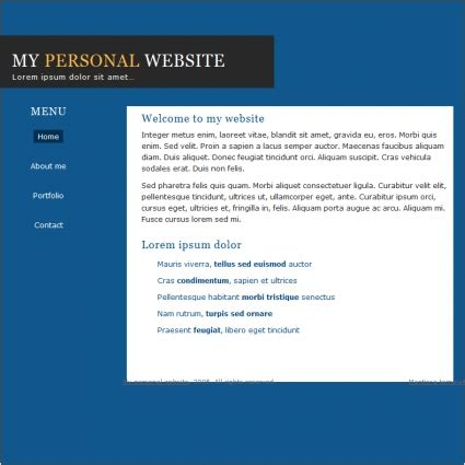 simple personal template free website templates in css