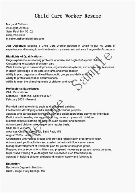 childcare cover letter exle resume sles child care worker resume sle