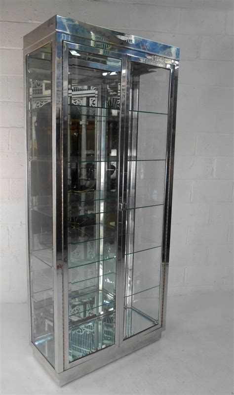 Modern Glass Cabinet by Mid Century Modern Chrome And Glass Mirrored Display