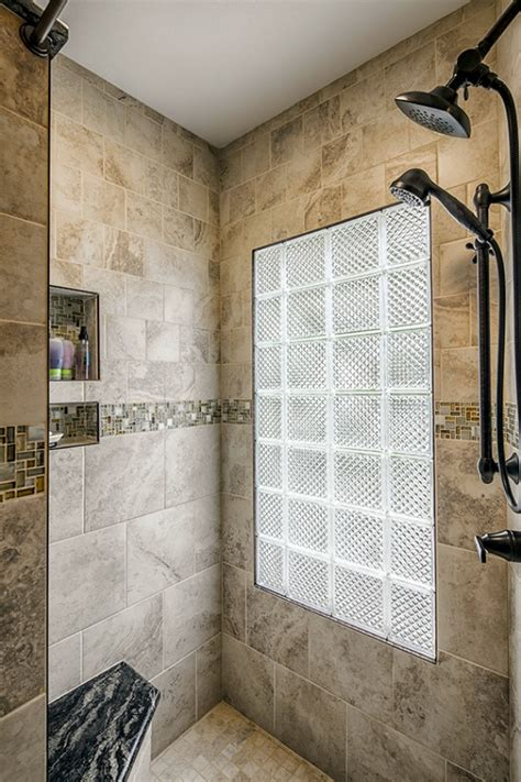 glass block window in shower walk in shower design ideas photos and descriptions