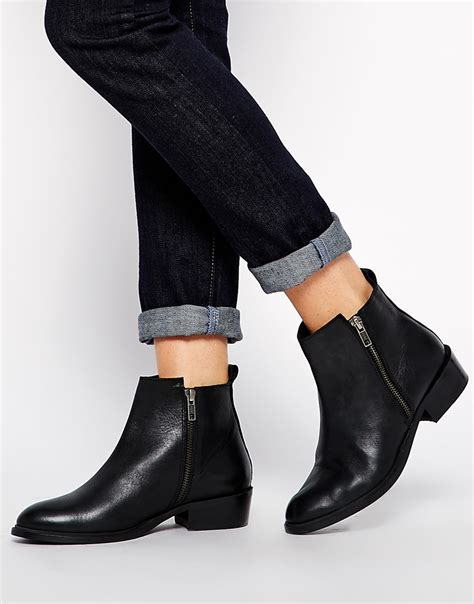 flat pointed shoes with ankle dune pippie black pointed flat ankle boots in black lyst