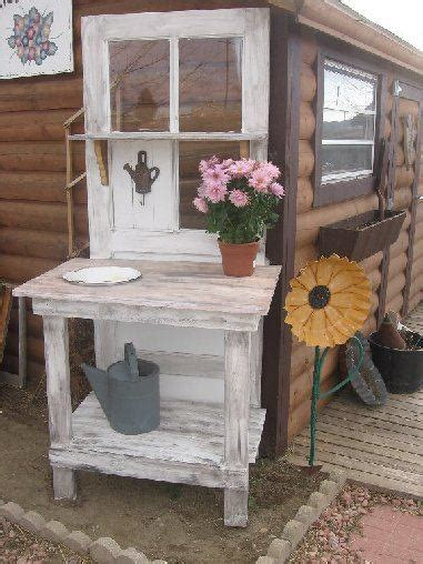 benches made from old doors potting bench made from old door gardening pinterest