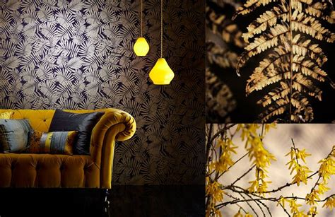 Yellow Livingroom Harlequin Wallpapers Callista By Clarissa Hulse