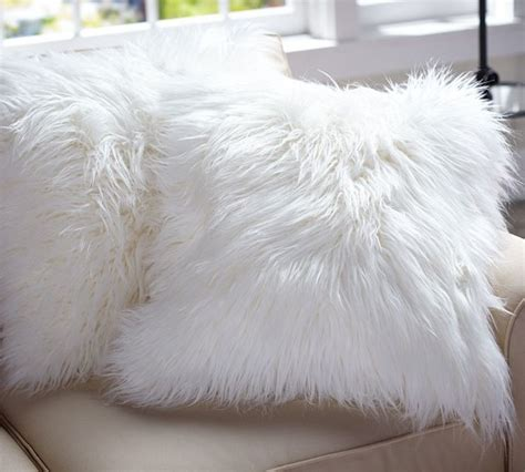 White Faux Fur Pillow by Faux Fur Pillow Cover Shaggy