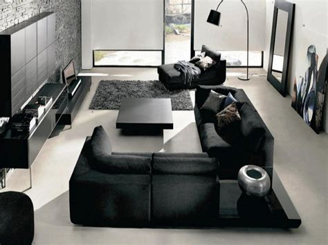 canapé noir et gris salon moderne gris