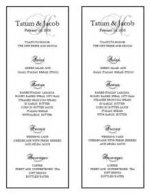 Free Wedding Menu Templates For Microsoft Word by Wedding Menu Template Wedding Menu Template 10
