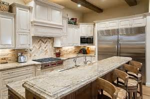 granite countertops with light cabinets